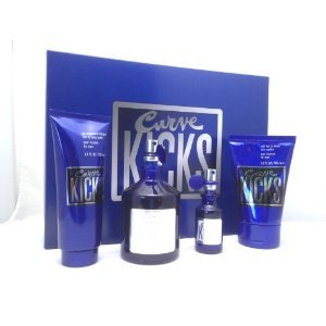 (CURVE KICKS by Liz Claiborne for Men 4 pc. Gift Set, (Cologne Spray 4.2 oz + .5 oz Spray + Hair & Body Wash 3.4 oz + Skin Soother 4.2 oz) )