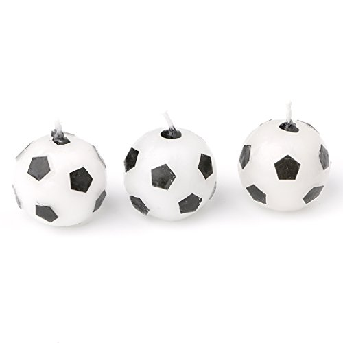 Poity 3Pcs Soccer Ball Football Birthday Party Cake Candles Decorations Supplies Tool White Black -