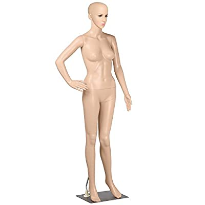 "Yaheetech Plastic Female Mannequin Adjustable Realistic Display Full Body Dress Form 68.9"" Height w/Base"