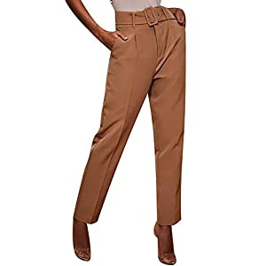 Womens Formal Dress Pants - Comfy Career Straights Leg Work Trousers with Belt 17