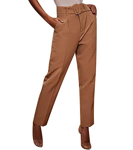(Womens Formal Dress Pants - Comfy Career Straights Leg Work Trousers with Belt Coffee US 10)