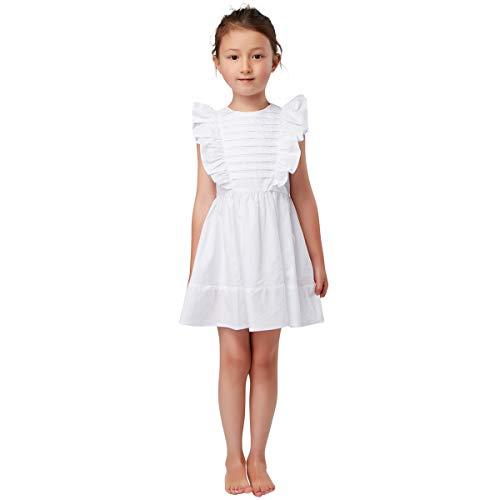 (Elegant Fancy Vintage Plain White Sleeveless Cotton Pleated Ruffle Skater Girls Dress 4-14 Years (8))
