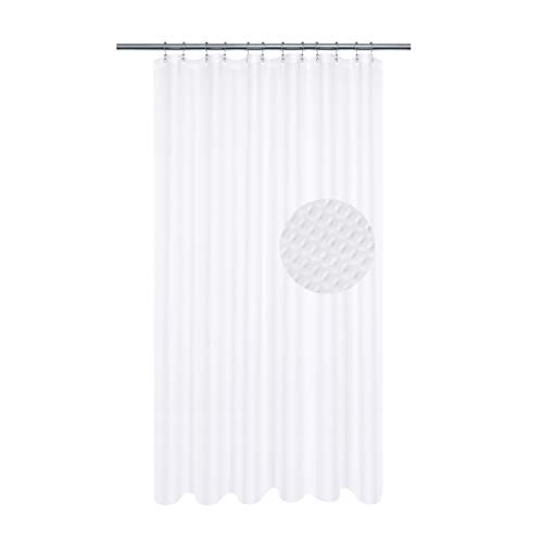 Long Shower Curtain with 80 inch Height, Fabric, Waffle Weave, Hotel Collection, Water Repellent, Machine Washable, 230 GSM Heavy Duty, White Pique Pattern Decorative Bathroom Curtain (Best Shower Curtain Material)