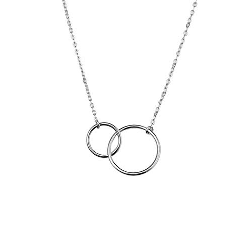 Kalapure Mother Daughter Necklace Sterling Silver Open Two Interlocking Infinity Circles Pendant Necklace for for Best Friend, Sister (Open Silver Pendant Circle)