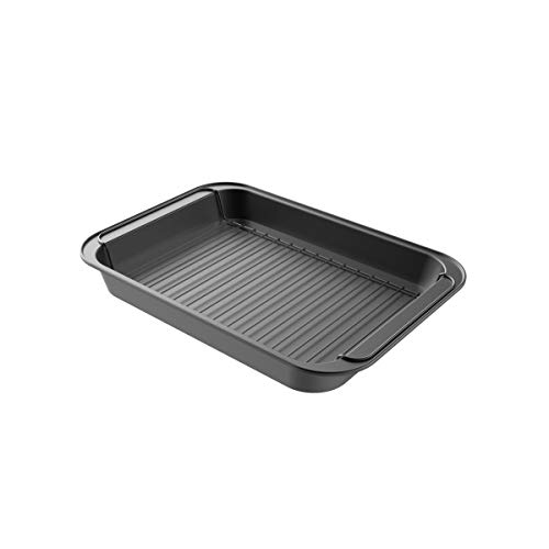 - Classic Cuisine 82-KIT1104 Roasting Pan with Rack Nonstick Oven Roaster with Removable Grid to Drain Fat and Grease-Healthier Cooking with Kitchen Bakeware