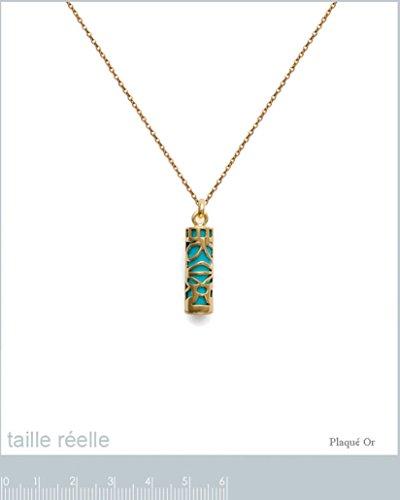 Lot Pendentif Tiki Plaqué Or 18 carats et imitation Turquoise + Chaîne 50cm Plaqué Or