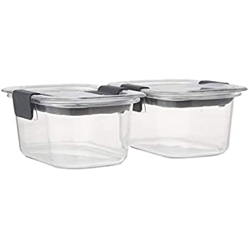 Rubbermaid Brilliance Food Storage Container, Small, 1.3 Cup, Clear, 2-Pack
