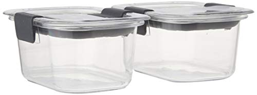 - Rubbermaid Brilliance Food Storage Container, Small, 1.3 Cup, Clear, 2-Pack