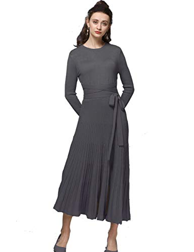 FINCATI Soft Warm Long Sweater Dress 2018 Autumn Winter Cashmere Belt Fitted Waist Pleated Midi Dresses Crew Neck Dark Gray (Dark Grey, L)