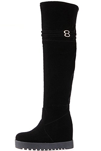 Fur Black Black High Boots Increased Faux Knee Boots Strap Buckle Warm By BIGTREE Women Long Platform xXqzww4ZU