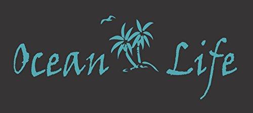 Barking Sand Designs Ocean Life Palm Trees Bird Island Turquoise Blue - Die Cut Vinyl Window Decal/Sticker for Car/Truck 8