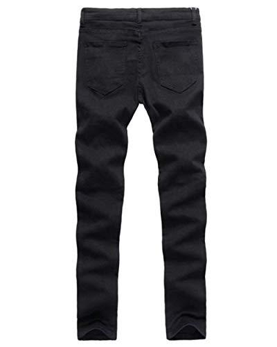 Especial Estilo Nero Ripped Skinny Holes Biker Pants Casual Jeans Fit Zipper Mens Pantaloni Slim Denim qzxaR6wvq