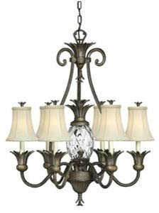 Hinkley 4886PZ Tropical/British Colonial Seven Light Foyer from Plantation collection in Bronze/Darkfinish,