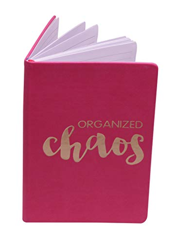 Organized Chaos Travel Journal - Gift for Travel Lovers, Writers, Teens, Tweens and Girls - PU Ruled Notebook with Grey Lines (Hot -