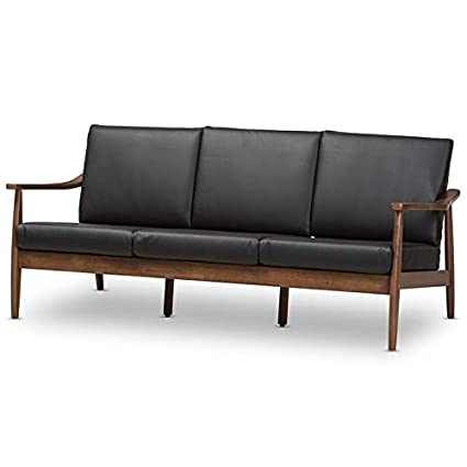 Baxton Studio Venza Faux Leather Sofa in Black and Walnut Brown