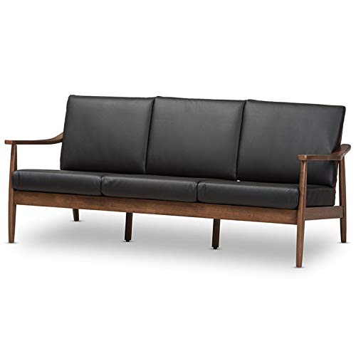 Walnut Couch - Baxton Studio Venza Faux Leather Sofa in Black and Walnut Brown