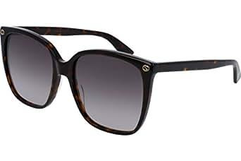Gucci Women Design Sunglasses GG0022S 003 Havana Brown Gold With Dark lens