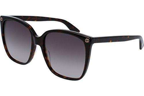 Gucci Women Design Sunglasses GG0022S 003 Havana Brown Gold With Dark lens Gucci Designs