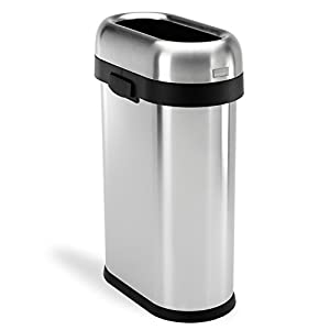 simplehuman Slim Open Top Trash Can, Commercial Grade, Heavy Gauge Stainless Steel, 50 L / 13 Gal