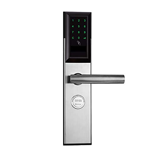 WSBBQ Touchscreen Fingerprint Smart Lock, Electronic Keyless Entry Door Mortise Lock with RFID Cards + App Remotely and Mechanical Key for Home Security,Silver