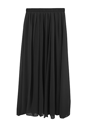 Dress Prom Chiffon Full Skirt (Ladies Womens Maxi Skirt Elastic Waist Chiffon Full Ankle Solid Color Flowy Casual Classic Elegant Pleated - Black 100cm)