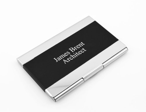 Engraved Card (1 X Personalized Black and Silver Quality Metal Business Card Holder - Free Engraving)