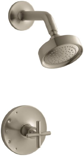 KOHLER TS14422-3-BV Purist(R) Rite-Temp(R) Shower Valve Trim with Cross Handle and 2.5 gpm showerhead