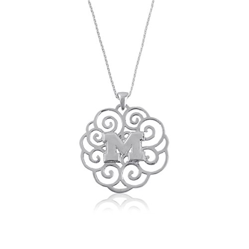 (University of Michigan Wolverines Sterling Silver Jewelry by Dayna Designs (Filigree Pendant)