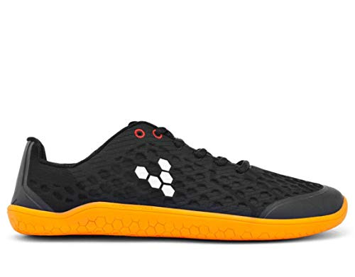 vivobarefoot Stealth Ii, Womens Breathable Vegan Workout Shoe with Barefoot Sole Black/Orange