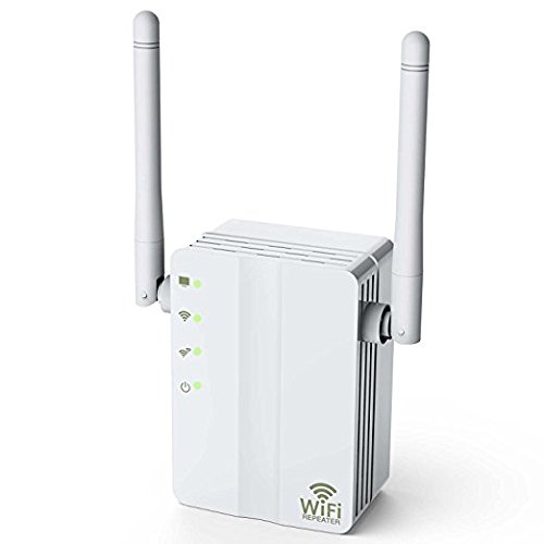Wifi Extender, Eseesmart WiFi-Repeater 300Mbps WiFi Range Extender Internet Booster Signal with 2 External Antennas to WiFi Coverage-Best Range Network Plug-in-Full Coverage(White)
