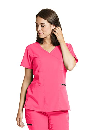 Grey's Anatomy GRST001 Princess Scrub Top - Spandex Stretch Pink Pop XS ()