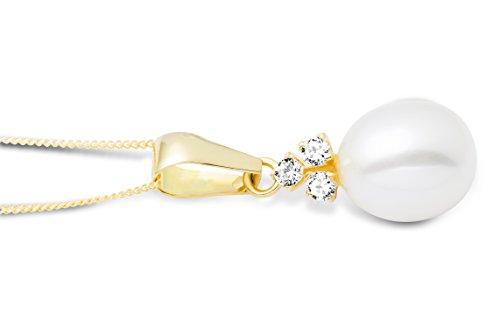 Miore - Collier Femme - Or Jaune 9 Cts 375/1000 1.43 Gr - Oxyde de Zirconium - Perle d'eau douce