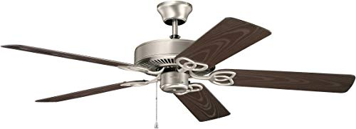 Kichler 414SNB Basics Patio 42IN Damp Rated Ceiling Fan, Satin Natural Bronze Finish with Brown ABS Blades