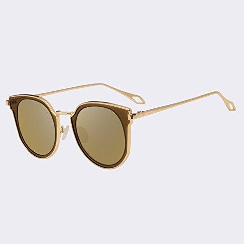 clásico Gafas estilo C05Gold mujeres Gato gafas TIANLIANG04 de de C02Rosa espejo las UV400 de Ojo de gafas de parcial manera Gafas sol lentes sol de de ppUxq4wBT
