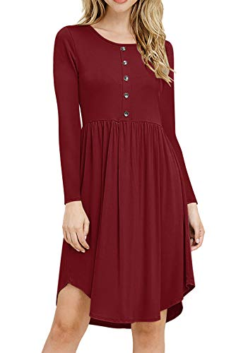 Vtements Manches Taille Haute Longue Causual Col Slim Chic Femme Automne Wq033 Robe Vintage Midi Rouge Rond Robes Robe Ete Inflower qpvfBwn