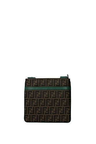 Borse a Tracolla Fendi Uomo Tessuto Tabacco, Nero e Verde Bottiglia 7VA348B0WF051D Marrone 3x24.5x27 cm