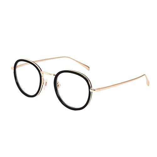 Jimmy Orange Round Metal Frame Glasses Non-Prescription Clear Lens Eyewear JO5118 (Black) (Cheap Coloured Contact Lenses)