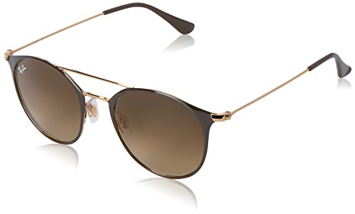 Ray-Ban Steel Unisex Round Sunglasses, Gold Top Brown, 49 - Ray Gold Brown Ban