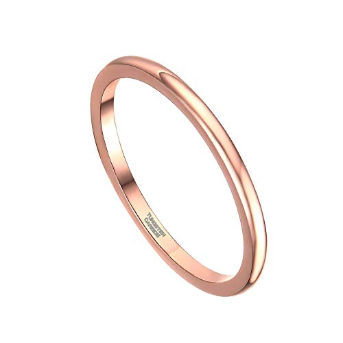 Greenpod 2mm Thin Tungsten Wedding Bands for Women Rose Gold Slim Domed Engagement Promise Ring Comfort Fit Size 6 by Greenpod