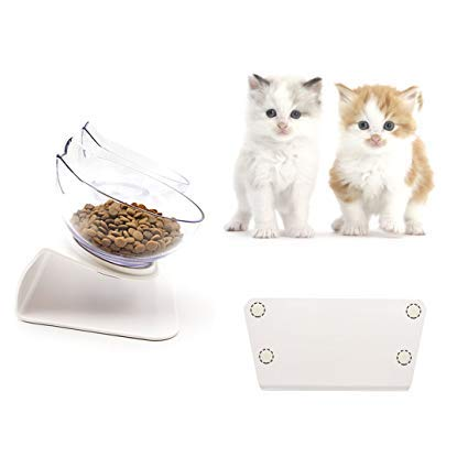 Aqueous Cat Elevated Double Transparent Plastic Bowl,Pet Feeding Bowl | Raised The Bottom for Cats and Small Dogs ,Cute Cat Face Double Bowl