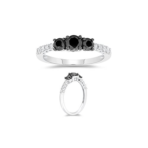 1.15 Cts Black & White Diamond Ring in 10K White Gold-8.0 by Vogati