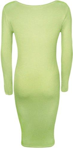 Femmes longues col Robe Menthe Vert 42 Robes un 36 longue mi WearAll rond Tailles avec manches AUwpv0IqI