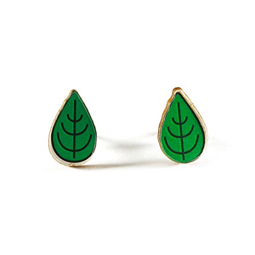 - Tree Leave Wood Stud Earrings Lightweight Hypoallergenic Post Back Pierced Ears (Leaflets)