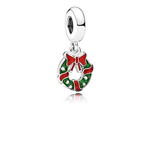 PANDORA Holiday Wreath Dangle Charm, Berry Red & Green Enamel (Enamel Wreath Charm)