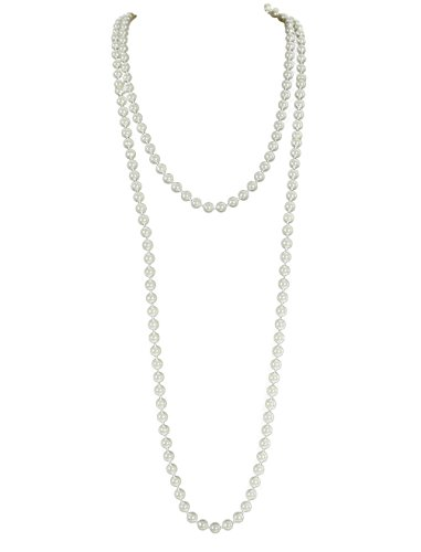 Emust Art Deco Gatsby Flapper Beads Long Pearl Necklace White Size One Size (Flapper Apparel)