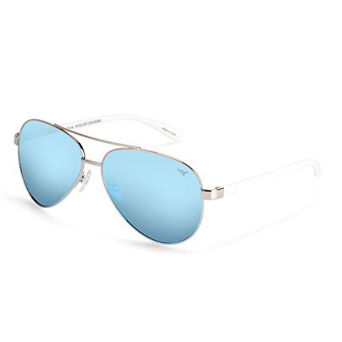 KastKing Kenai Aviator Polarized Sunglasses,Gloss Silver with White Temple,Smoke Base -Ice Mirror