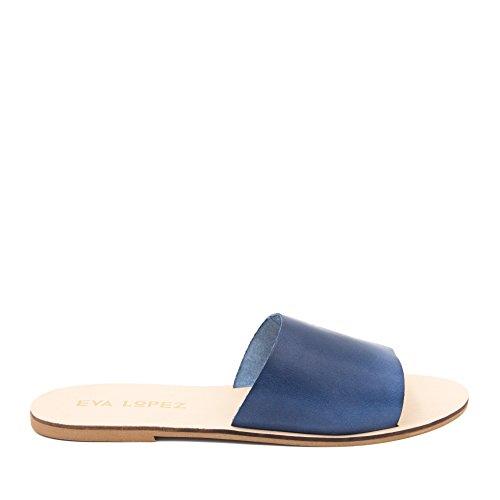 Eva López E5011002 Sandalias Planas de Piel Mujer Marino Bleu 4fsNg6v3cn