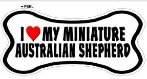 (Miniature Australian Shepherd Love My Dog Bone - Window Bumper Locker Sticker)