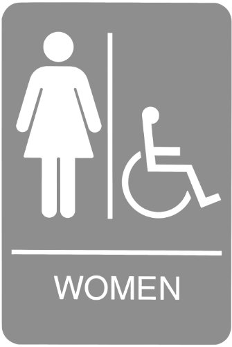 Headline Sign 5219 ADA Wheelchair Accessible Women's Restroom Sign with Tactile Graphic, 6 Inches by 9 Inches, Light Gray/White