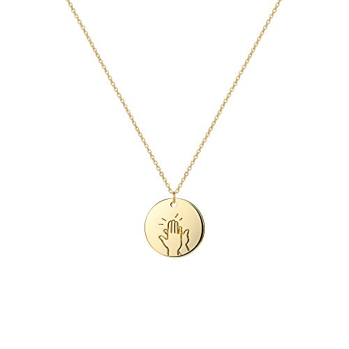 (Befettly Hand Gestures Necklace 14 K Gold Plated Personalized Disk Pendant for Women NK-ges-High Five)